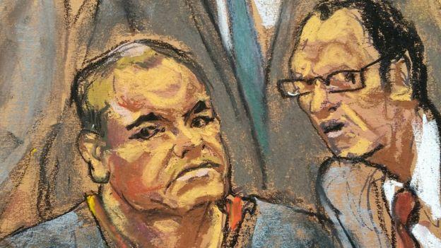 Dibujo de Guzmán en una corte en EE.UU.