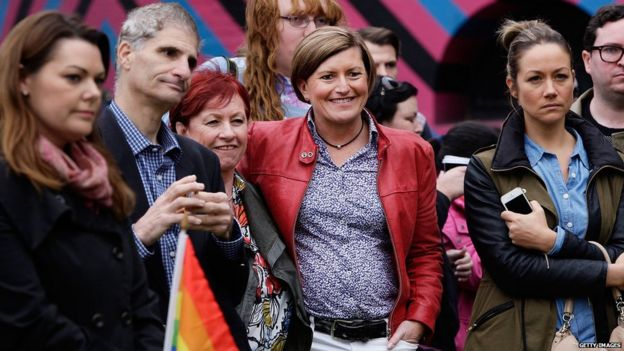 hristine Forster (R) and her partner Virginia Edwards attend a rally at Taylor Square in support of marriage equality on 31 May 2015 in Sydney, Australia.