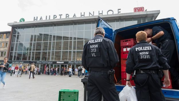 file pic of police outside a station in Cologne, July 2015