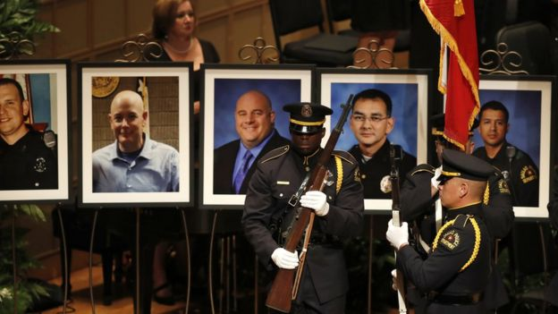 Pictures of the five fallen officers