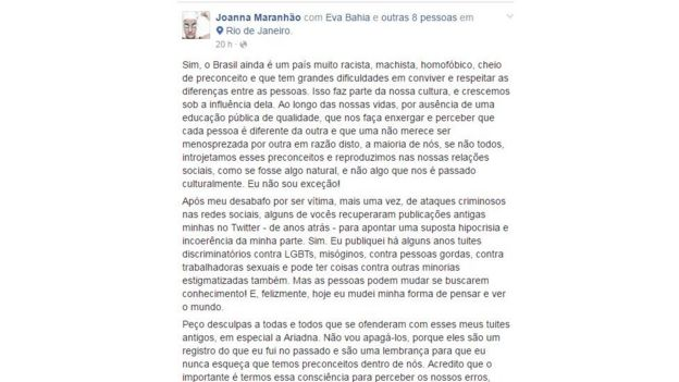 Post de Joanna Maranhão no Facebook