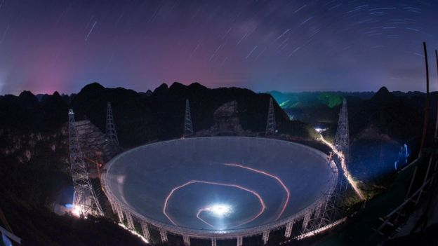 A vehicle leaves light trails in a long exposure photo as it drives beneath the Five-hundred-meter Aperture Spherical Telescope (FAST) in Pingtang County in southwestern China