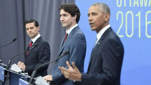 Enrique Peña Nieto, Justin Trudeau y Barack Obama.