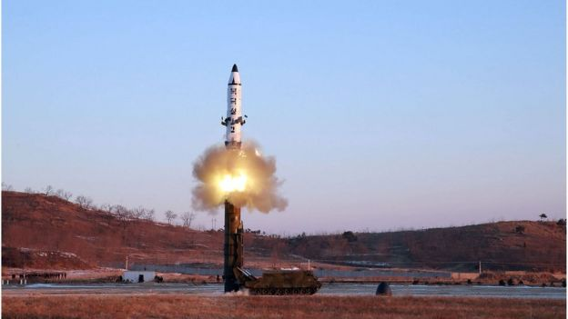 Photo taken on February 12, 2017 and released on February 13 by North Korea's official Korean Central News Agency (KCNA) shows the launch of a surface-to-surface medium long-range ballistic missile Pukguksong-2 at an undisclosed location in North Korea.