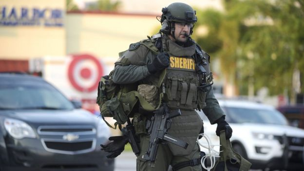 SWAT team member arrives at scene of shooting - 12 June