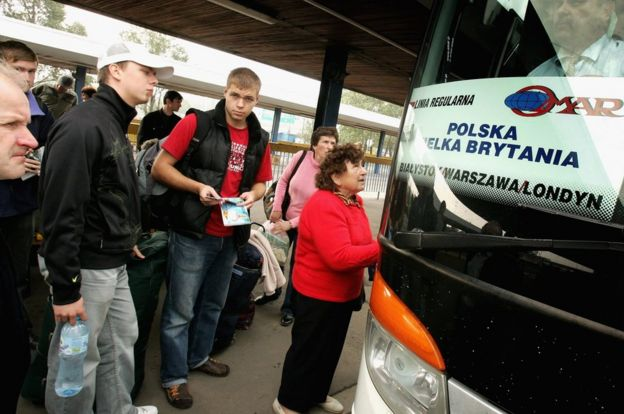 Polish workers boarding bus to London at Warsaw bus station