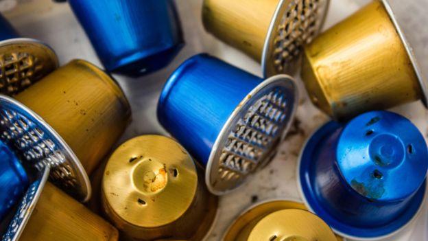 Waste coffee capsules