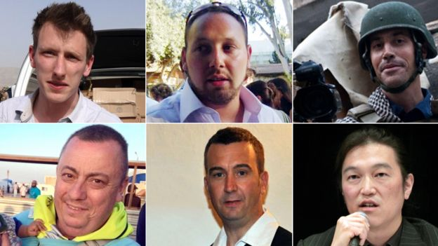 Clockwise from top left: Abdul-Rahman Kassig, Steven Sotloff, James Foley, Kenji Goto, David Haines, Alan Henning