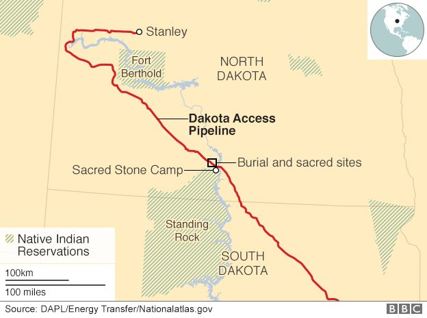 Map of Dakota pipeline