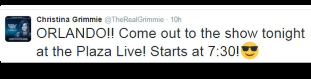 Christina Grimmie's tweet