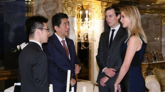Donald Trump's daughter Ivanka and her husband Jared Kushner (2nd from right) also met Mr Abe