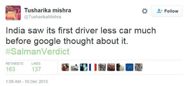 India saw its first driver less car much before google thought about it. #SalmanVerdict