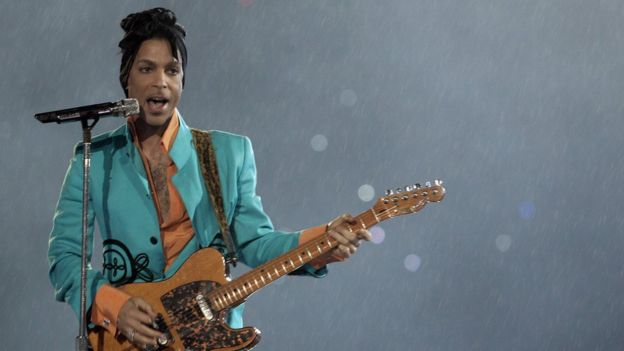 Musician Prince performing at the 2007 Super Bowl