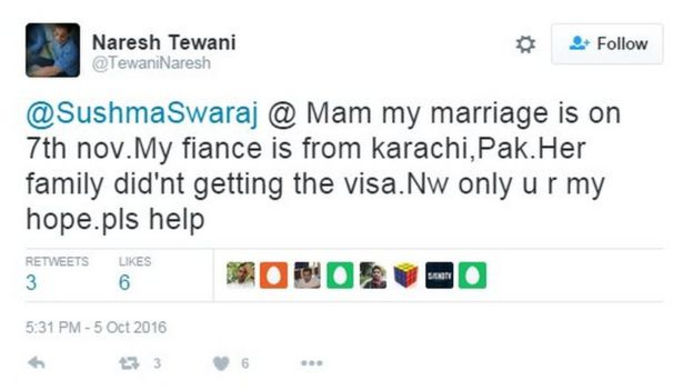 @SushmaSwaraj @ Mam my marriage is on 7th nov.My fiance is from karachi,Pak.Her family did'nt getting the visa.Nw only u r my hope.pls help