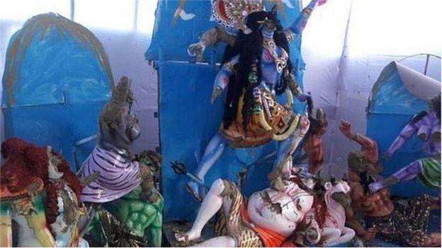 হামলায় নাসিরনগরের ক্ষতিগ্রস্ত মন্দির