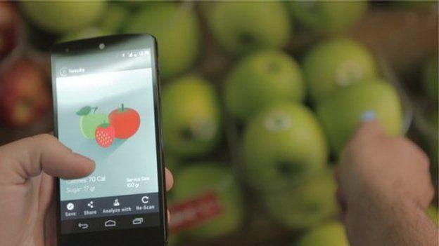 Scio app in front of fruit