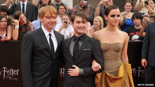 Rupert Grint, Daniel Radcliffe, Emma Watson (left to right)