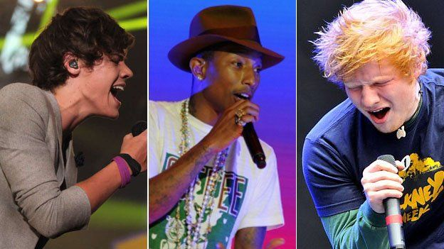 One Direction, Pharrell Williams and Ed Sheeran (left-right) will all appear during the weekend