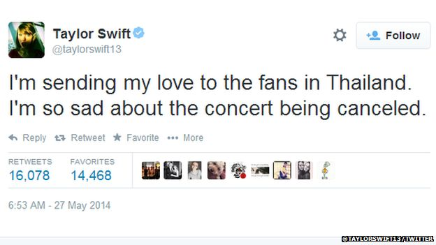 """Tweet from Taylor Swift reading: """"I'm sending my love to the fans in Thailand. I'm so sad about the concert being canceled."""