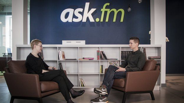 Ms Biseniece was speaking to Newsbeat's technology reporter Jonathan Blake at Ask.fm's headquarters in Latvia