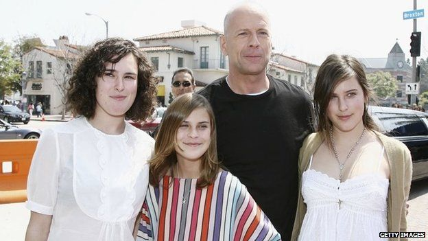 Scout (far right) pictured in 2006 with father Bruce and sisters Rumer and Tallulah