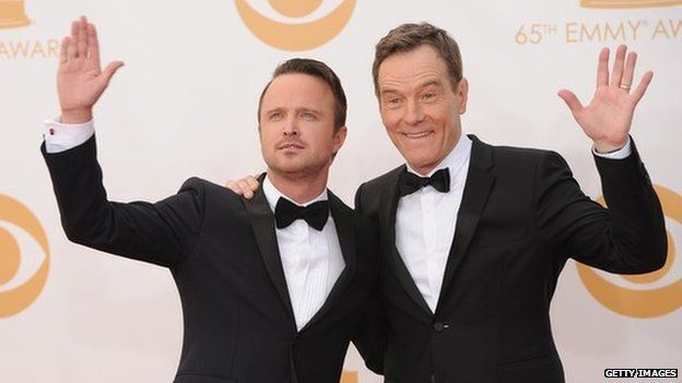 Aaron Paul and Bryan Cranston at Emmy Awards