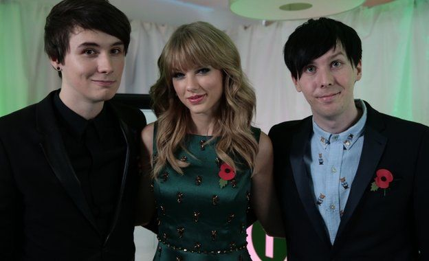 Dan and Phil with Taylor Swift