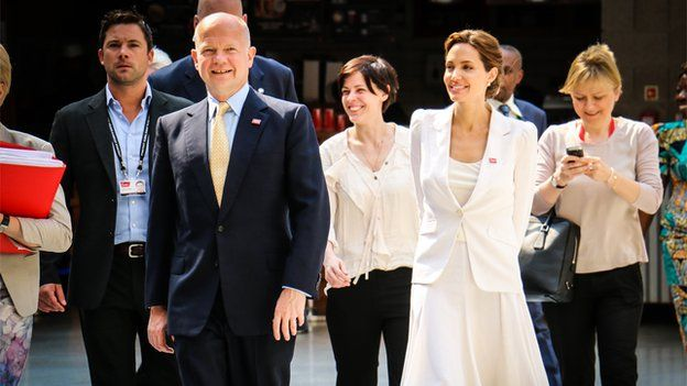 Foreign Secretary William Hague and Angelina Jolie
