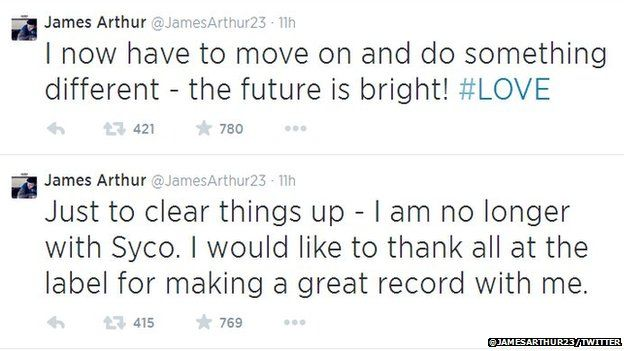 James Arthur broke the news to fans on Twitter