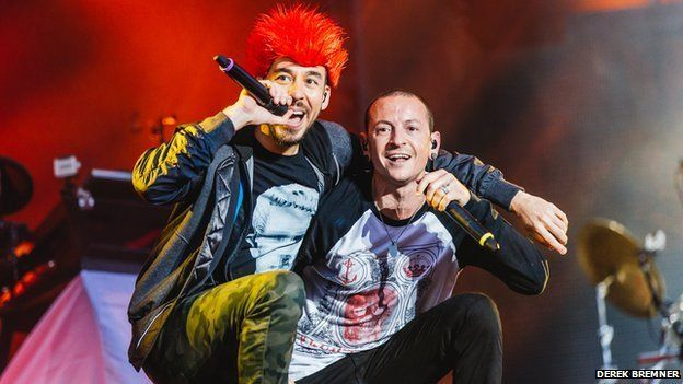 Mike Shiroda (L) and Chester Bennington (R) from Linkin Park