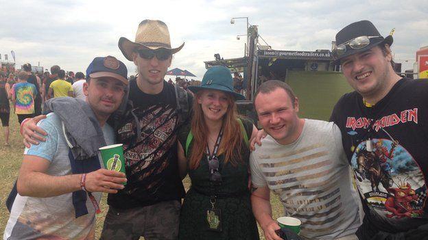 Cara with her mates Justin, Rob, Craig and Ben