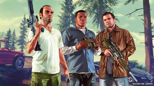The main characters in Grand theft Auto V are Trevor (left), Franklin and Michael (right)
