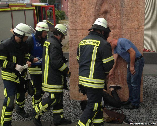 Firefighters rescue man stuck inside stone vagina
