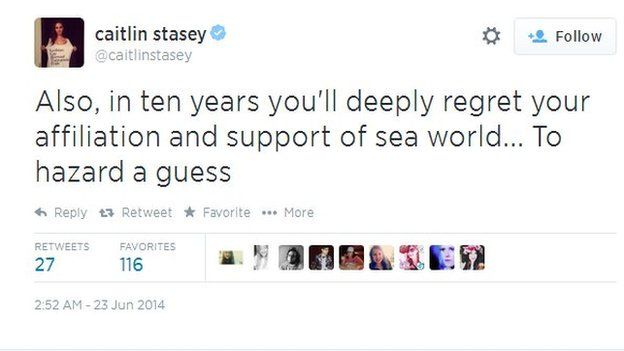 Also, in ten years you'll deeply regret your affiliation and support of sea world... To hazard a guess