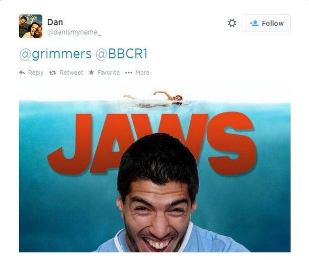 Image taken from Twitter of Suarez in film poster for Jaws
