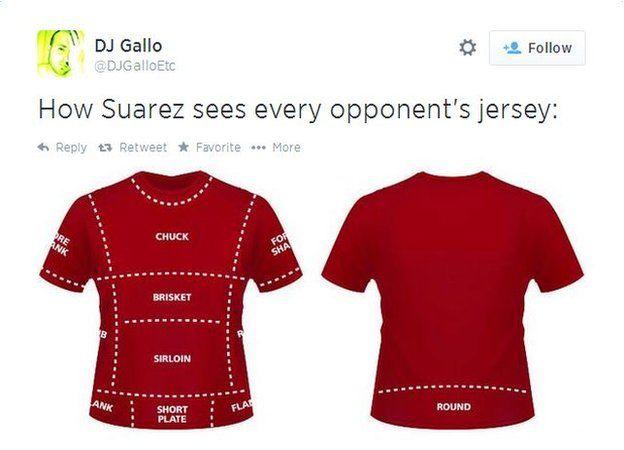 Image taken from Twitter of football shirt mocking Suarez alleged biting incident