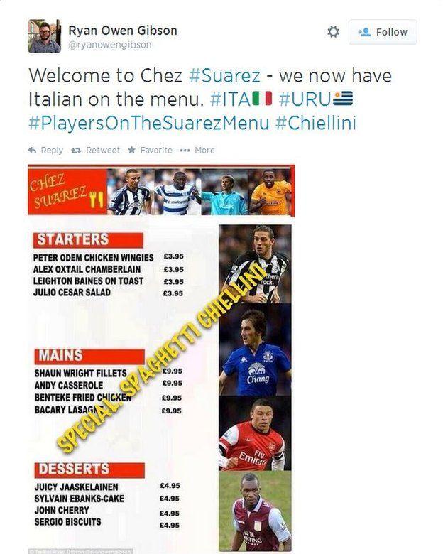 Image taken from Twitter of Suarez wearing a collar