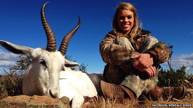 Kendall Jones with dead Springbok