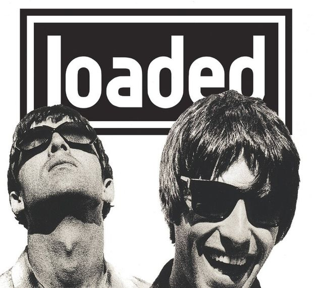 Oasis in front of the Loaded magazine logo