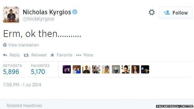 Nick Kyrgios tweeted his shock after knocking Rafael Nadal out of Wimbledon