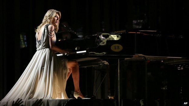 Taylor Swift at a piano