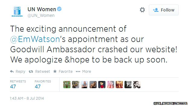 """Tweet from UN Women reading: """"The exciting announcement of @EmWatson's appointment as our Goodwill Ambassador crashed our website! We apologize & hope to be back up soon."""""""