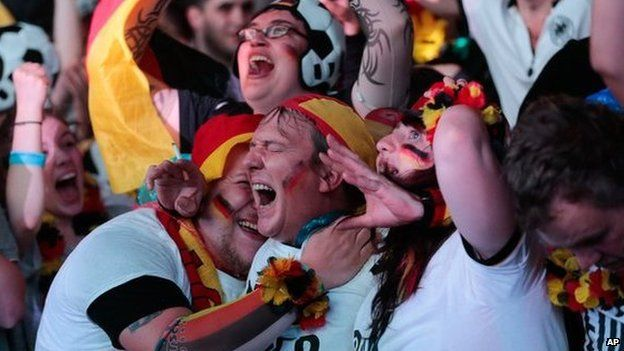 German fans celebrate yet another goal