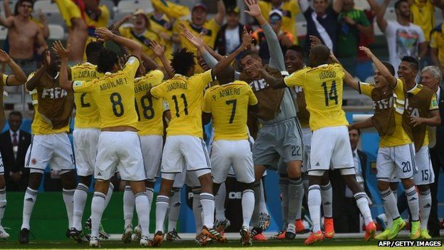 Colombia celebrate a goal