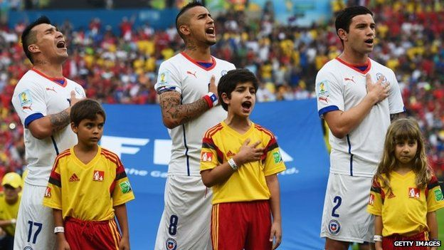 Gary Medel, Arturo Vidal and Eugenio Mena of Chile