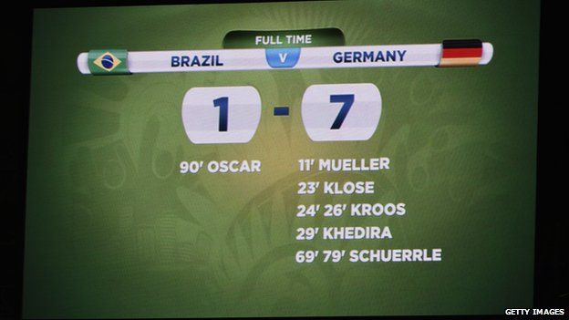 Brazil 1-7 Germany score board