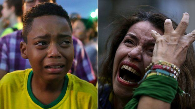 Two Brazilian fans crying