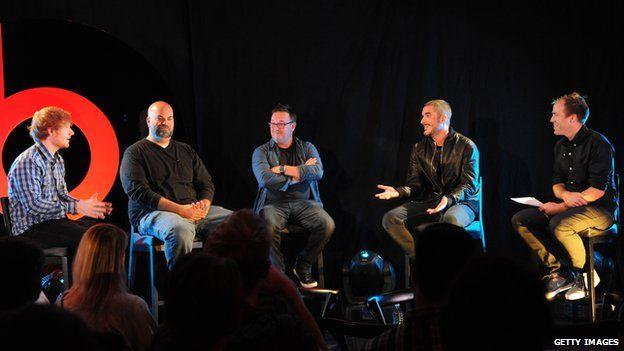Ed Sheeran, Paul Rosenberg, Spike Stent, Zane Lowe and Luke Wood