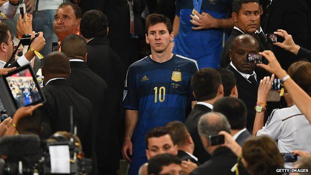 Lionel Messi after being defeated by Germany 1-0 in the 2014 FIFA World Cup Brazil Final at Maracana