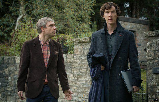 Martin Freeman and Benedict Cumberbatch as Dr Watson and Sherlock Holmes